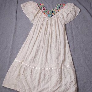 Vtg 70s S/M Embroidered Floral Caftan Maxi Dress
